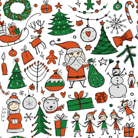 Christmas set, seamless pettern for your design Stock Photo