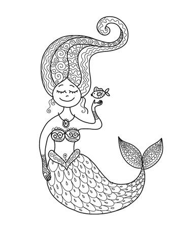 あなたのデザインのためのかわいい人魚や魚。  イラスト・ベクター素材