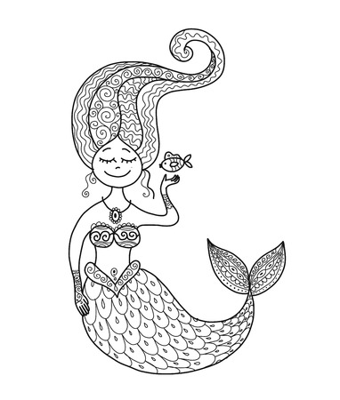 Cute mermaid and fish for your design. Иллюстрация