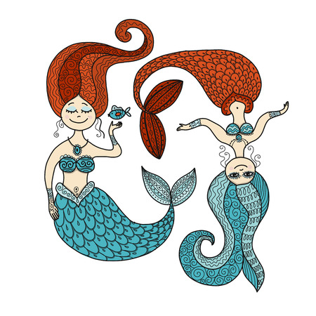Cute mermaids for your design. Vector illustration.