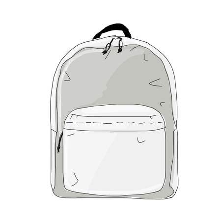 Backpack mockup, sketch for your design Ilustracja