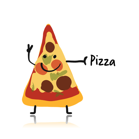 Pizza slice character, sketch for your design. Vector illustration