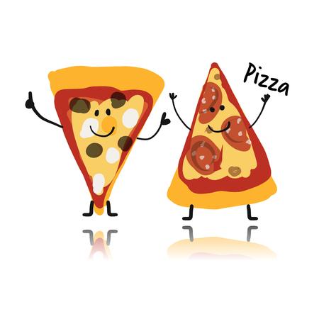 Charakter plasterki pizzy, szkic do projektowania ilustracji.