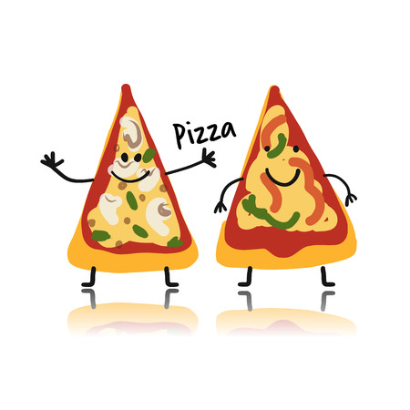 Pizza slices character, sketch for your design illustration.