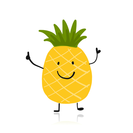 Pineapple, cute character for your design illustration.