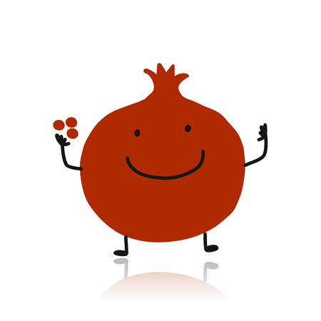 Pomegranate, cute character for your design illustration.