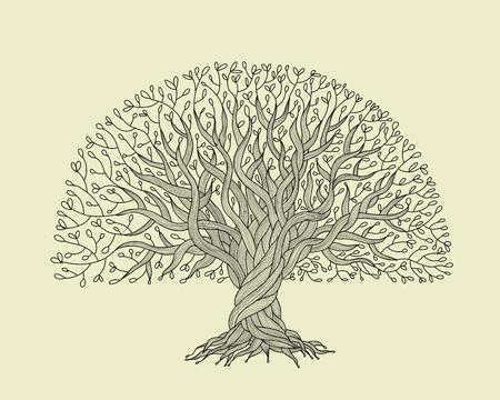Duże drzewo z korzeniami do projektowania Ilustracje wektorowe
