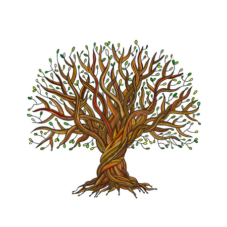 Big tree with roots for your design. Vector illustration Иллюстрация