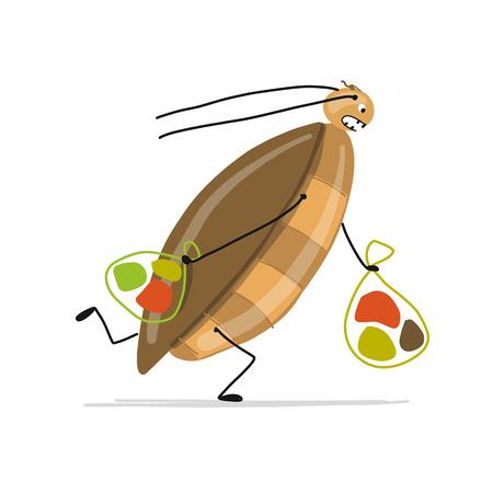 Grappige kakkerlak voor uw ontwerp. Vector illustratie