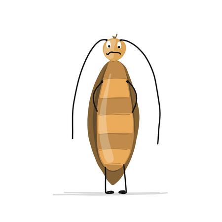 디자인을위한 재미있는 바퀴벌레. 벡터 일러스트 레이 션
