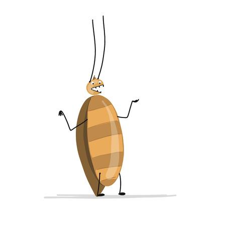 あなたのデザインのための面白いゴキブリ。ベクトルイラスト