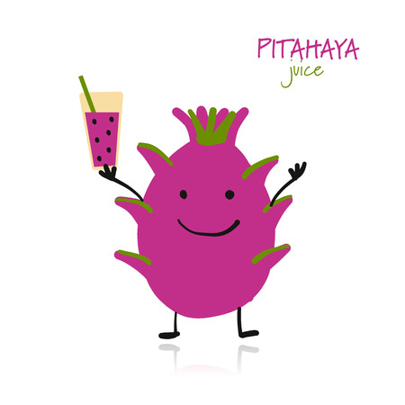 Pitaya, cute character for your design. Vector illustration Illustration