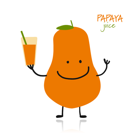 Papaya, cute character for your design. Vector illustration