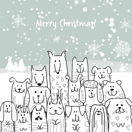 Christmas card with happy dogs family. Vector illustration