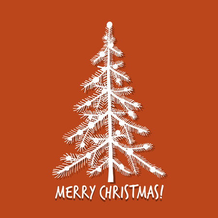Christmas tree, greeting card for your design. Vector illustration Çizim