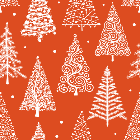 Christmas trees, seamless pattern for your design Illustration
