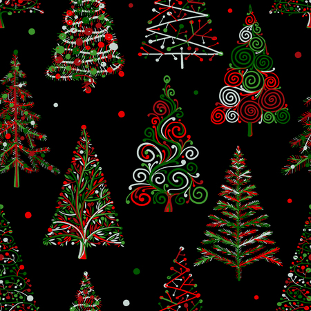Árboles de navidad, patrones sin fisuras para su diseño. Ilustración vectorial