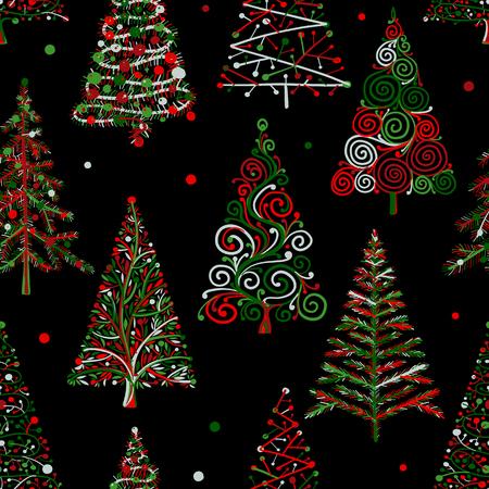 Alberi di Natale, modello senza soluzione di continuità per il vostro disegno. Illustrazione vettoriale