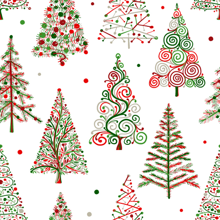 Christmas trees, seamless pattern for your design. Vector illustration