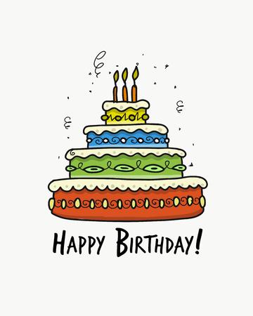 Birthday cake, postcard for your design