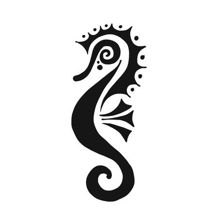 Seahorse silhouet, schets voor uw ontwerp. Vector illustratie