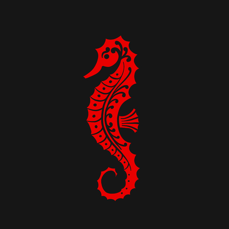 Seahorse silhouette, sketch for your design. Vector illustration