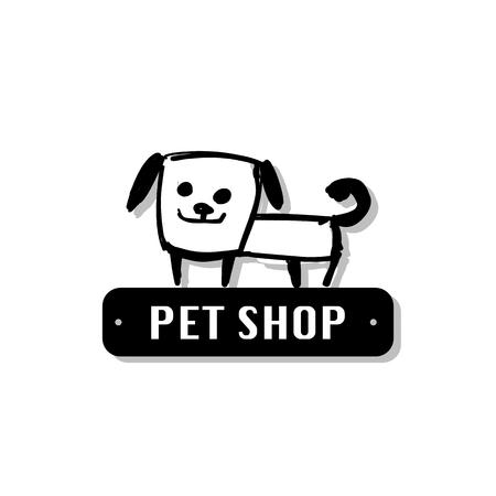 Funny dog, sketch for your design. Vector illustration
