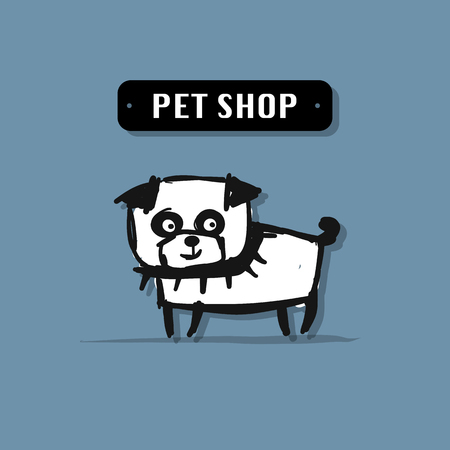 Funny dog, pet shop logo for your design