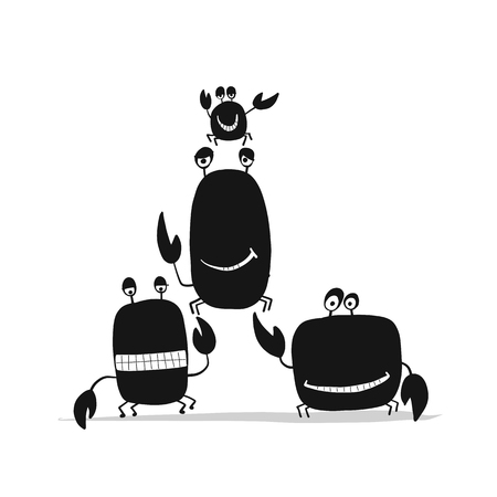 Funny friends crabs, black silhouette for your design. Vector illustration