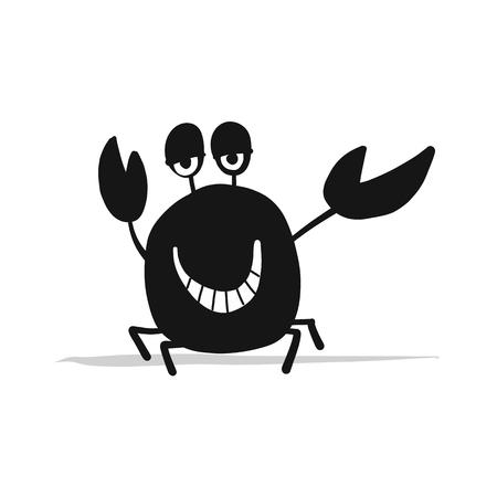 Funny crab, black silhouette for your design. Vector illustration Illustration