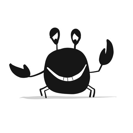 Funny black crab silhouette illustration. Ilustrace
