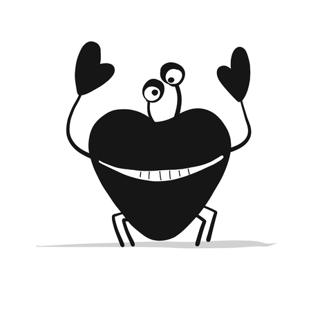 Funny black crab with heart shape claw silhouette illustration
