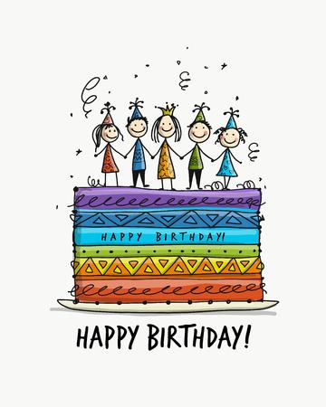 Birthday cake postcard design illustration.
