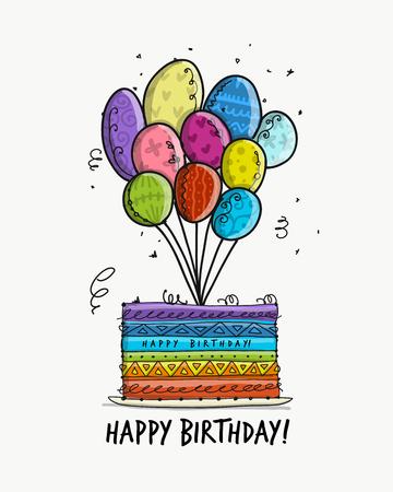 Birthday cake, postcard for your design. Vector illustration