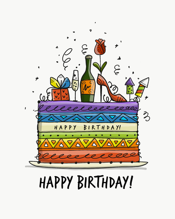 Birthday cake, postcard for your design. Vector illustration