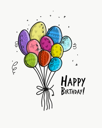 Birthday card with balloons for your design. Vector illustration.