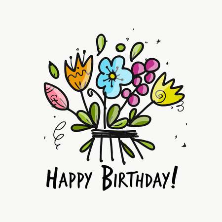 Floral birthday card for your design. Vector illustration.