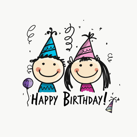 Birthday party with children, postcard for your design. Vector illustration