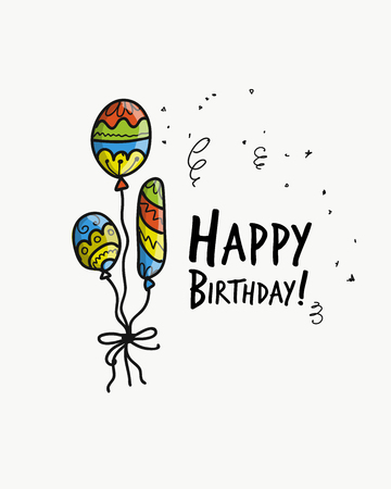 Birthday card with balloons for your design. Vector illustration Illustration