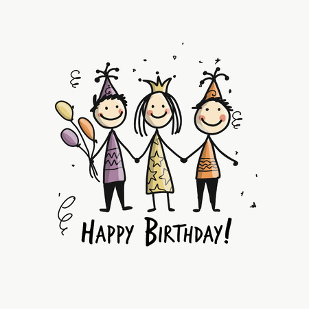 Birthday party, postcard for your design. Vector illustration