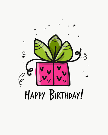 Birthday present, postcard for your design. Vector illustration