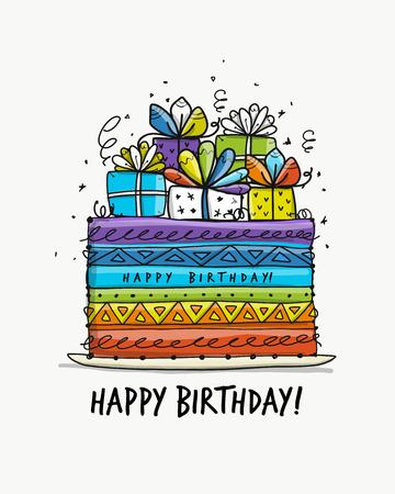 Tort urodzinowy, pocztówka do projektowania. Ilustracji wektorowych