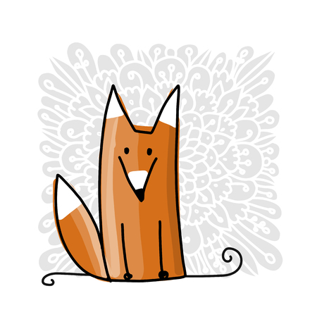 Cute red fox, sketch for your design. Vector illustration