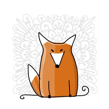 Leuke rode vos, schets voor uw ontwerp. Vector illustratie Stockfoto - 93321803