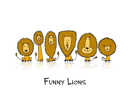 Funny lions, sketch for your design. Vector illustration Illustration