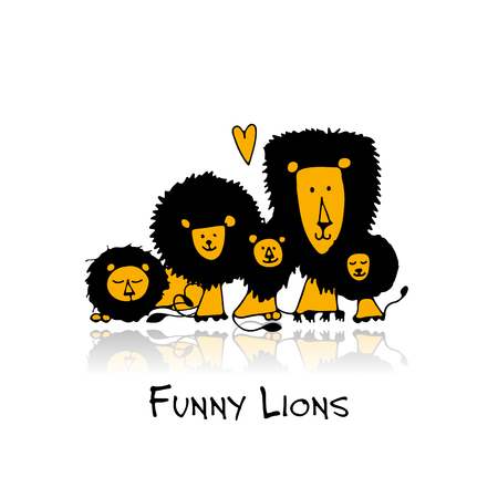 Funny lions, sketch for your design.