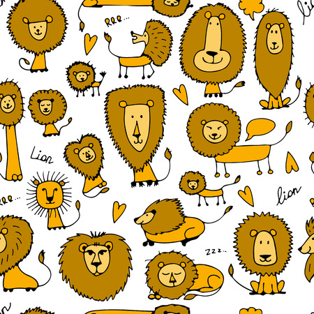 Funny lions, seamless pattern for your design