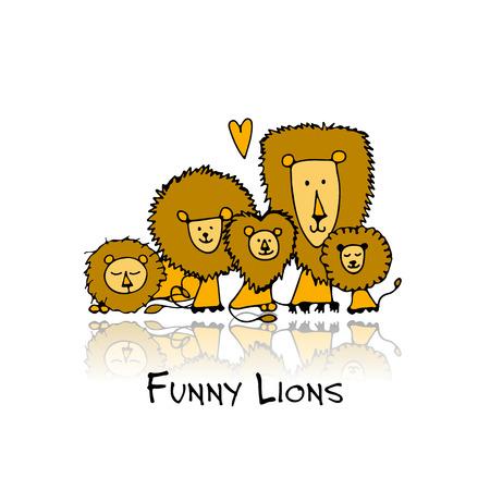 Funny lions, sketch for your design Illustration