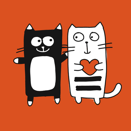Black and white Couple cat, cartoon sketch for your design, isolated on orange background