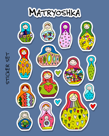 Russian nesting dolls, Matryoshka, sticker set for your design